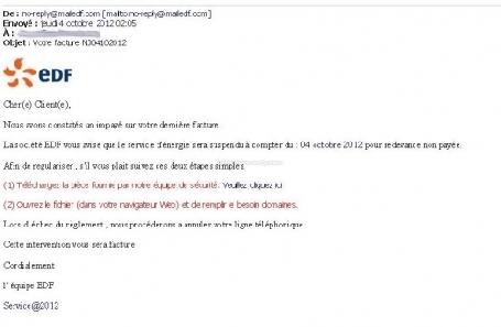 Attention aux arnaques avec des faux mails et SMS d'EDF